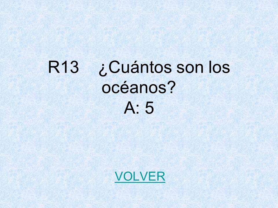 R13 ¿Cuántos son los océanos? A: 5 VOLVER