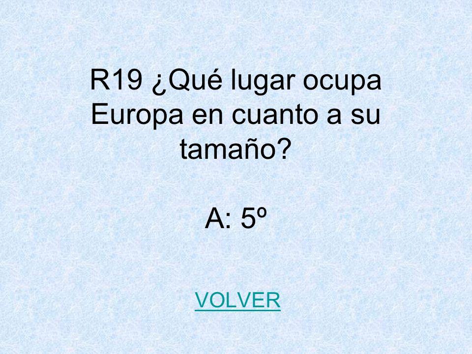R19 ¿Qué lugar ocupa Europa en cuanto a su tamaño? A: 5º VOLVER