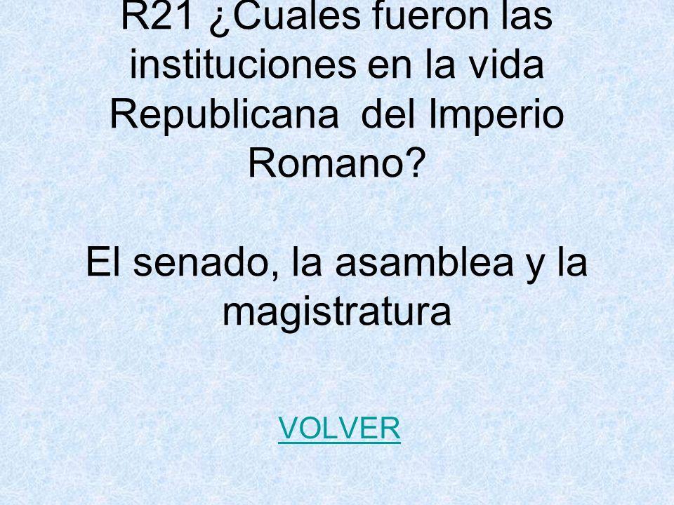 R21 ¿Cuales fueron las instituciones en la vida Republicana del Imperio Romano.