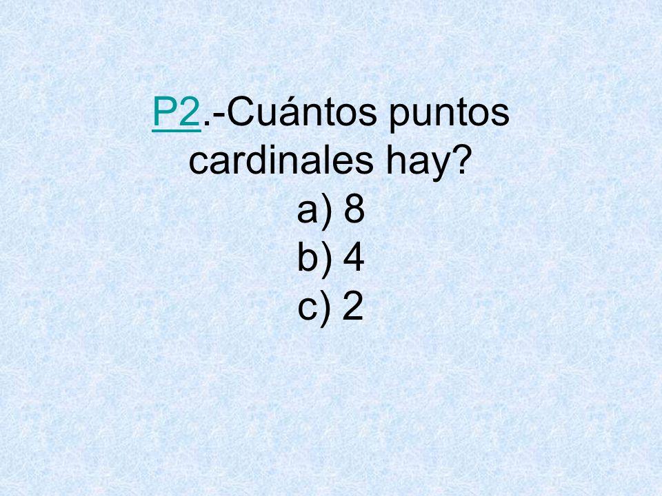 R2.-¿Cuántos puntos cardinales hay? b) 4 VOLVER