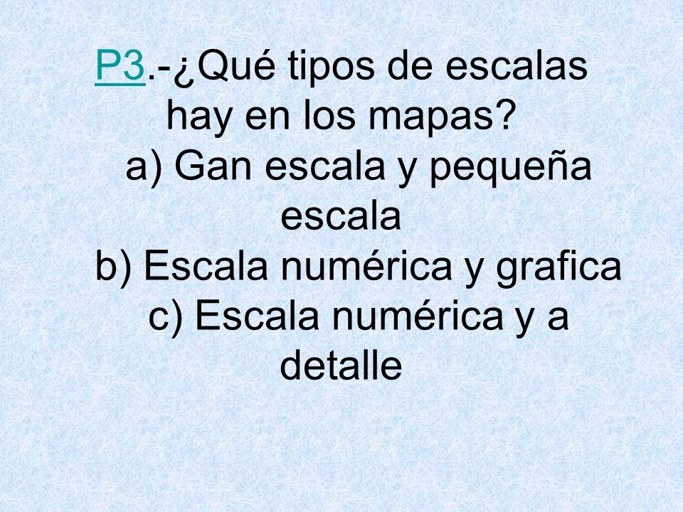 R3.¿Qué tipos de escalas hay en los mapas? a) Gan escala y pequeña escala VOLVER