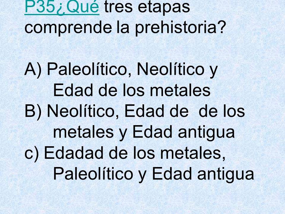 P35¿QuéP35¿Qué tres etapas comprende la prehistoria.