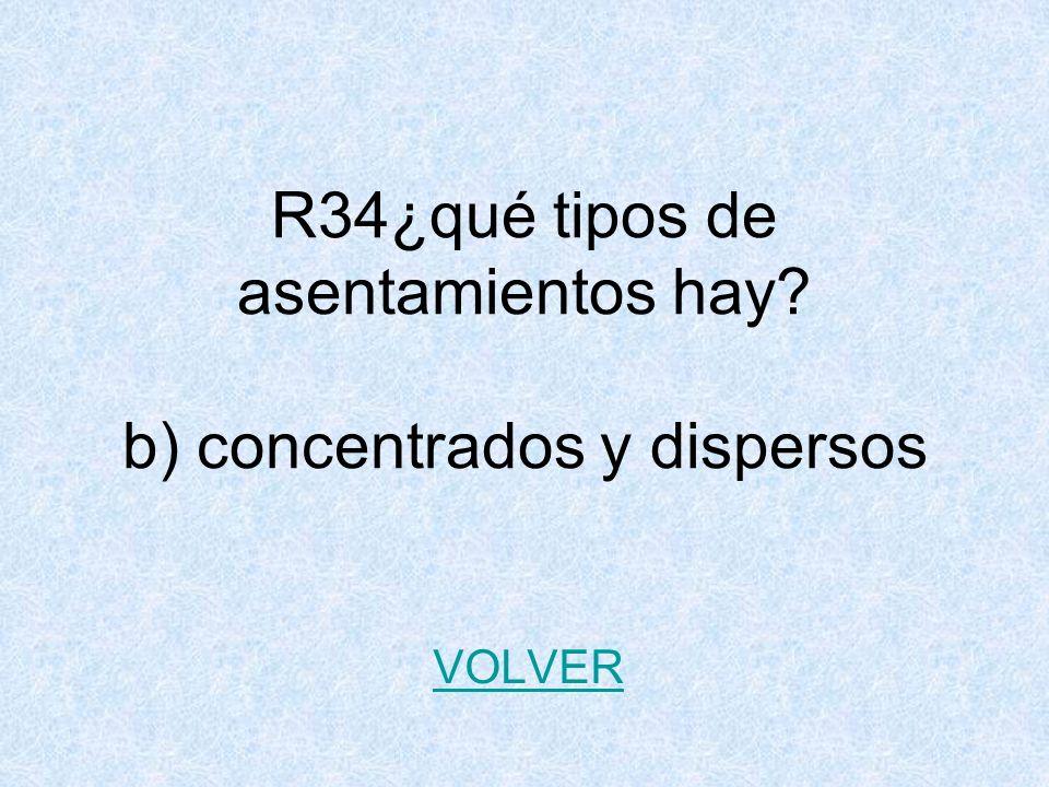 R34¿qué tipos de asentamientos hay? b) concentrados y dispersos VOLVER