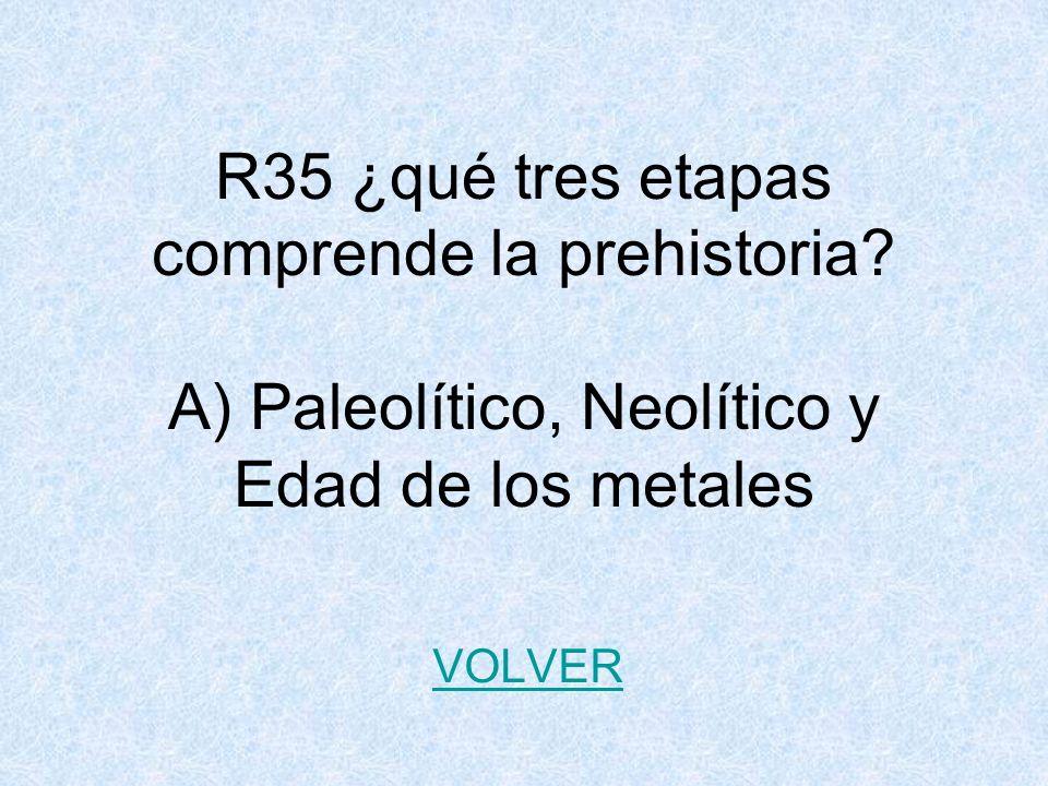 R35 ¿qué tres etapas comprende la prehistoria.