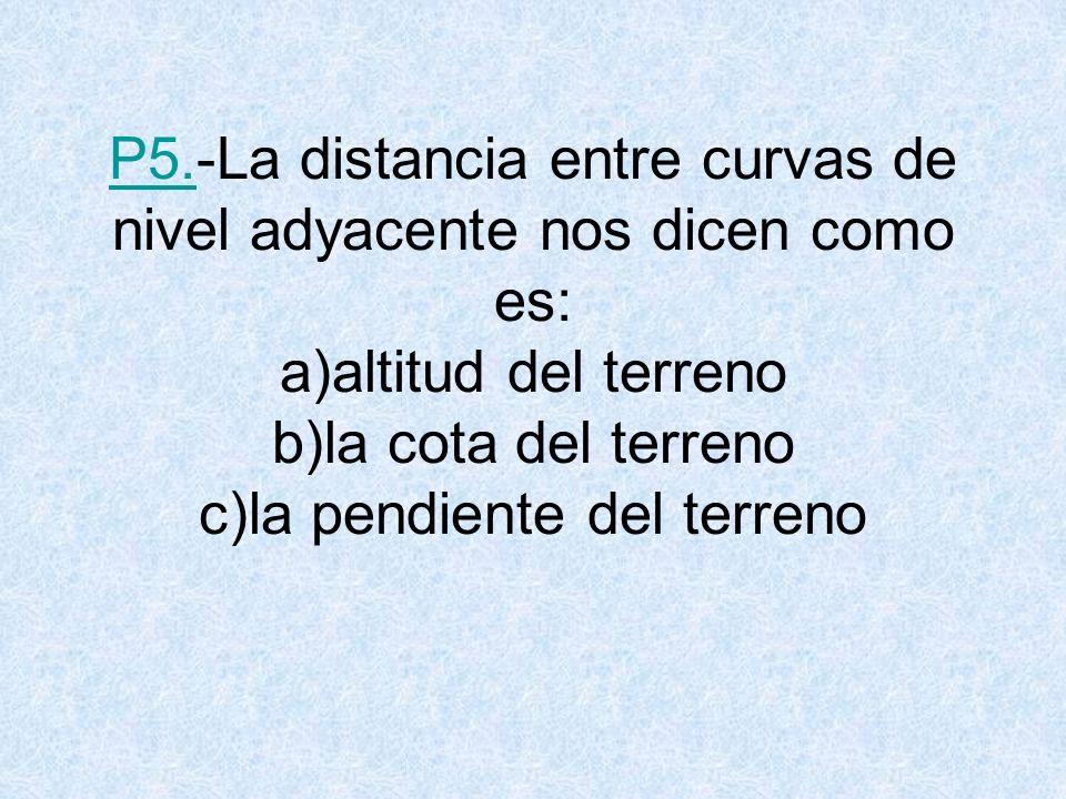P5.P5.-La distancia entre curvas de nivel adyacente nos dicen como es: a)altitud del terreno b)la cota del terreno c)la pendiente del terreno
