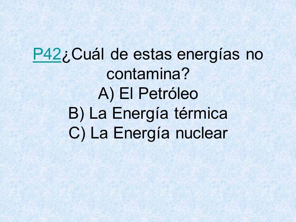 P42P42¿Cuál de estas energías no contamina.
