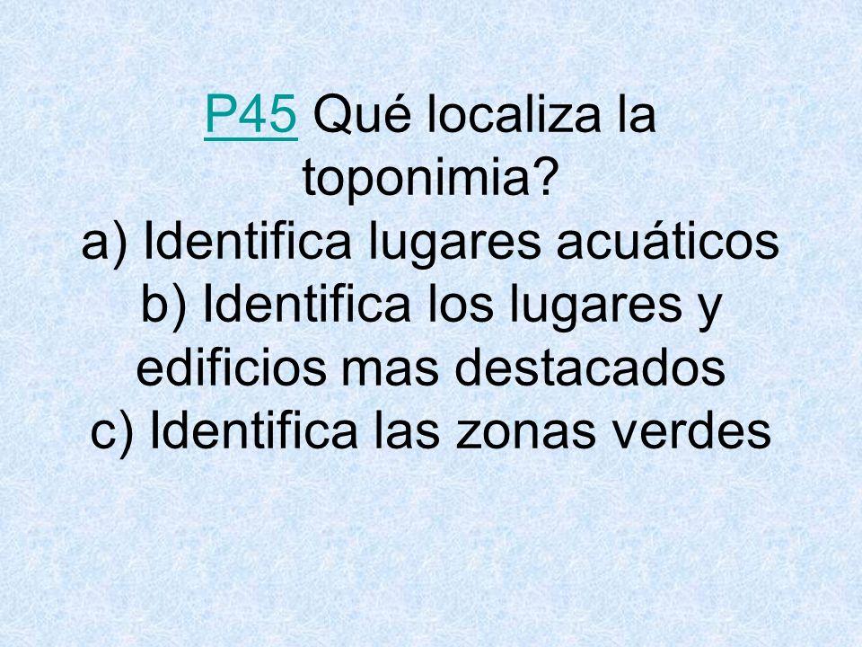 P45P45 Qué localiza la toponimia.