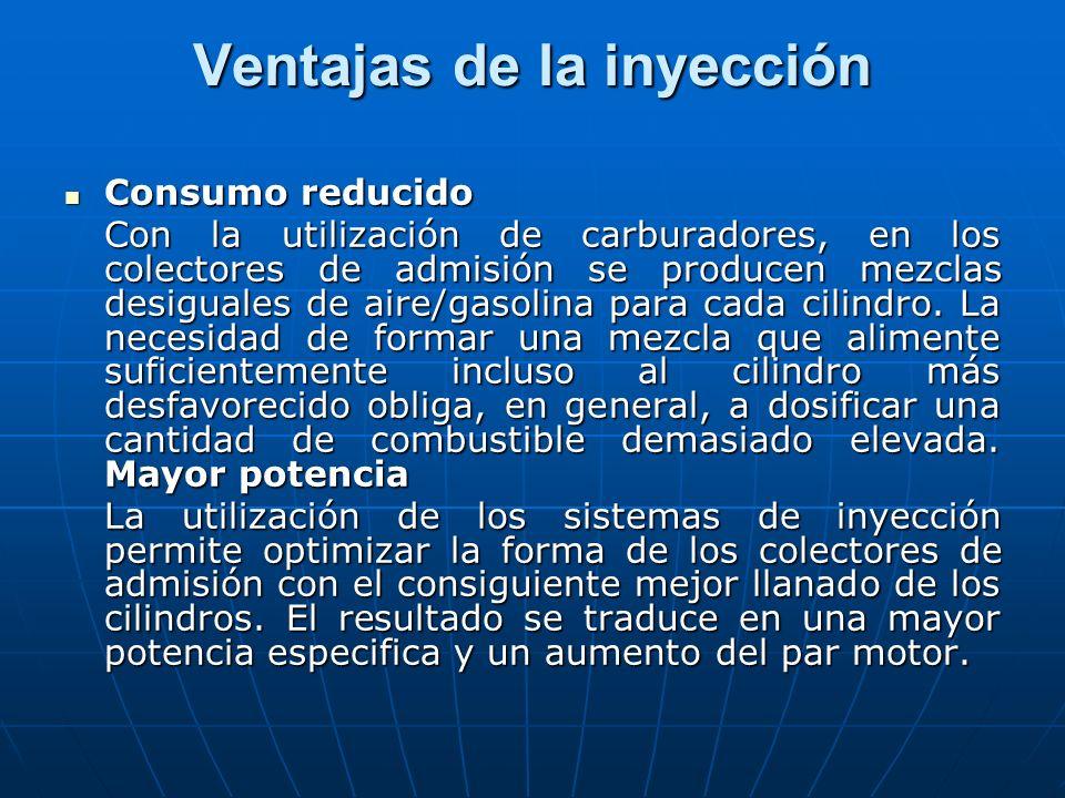 Ventajas de la inyección Consumo reducido Consumo reducido Con la utilización de carburadores, en los colectores de admisión se producen mezclas desig
