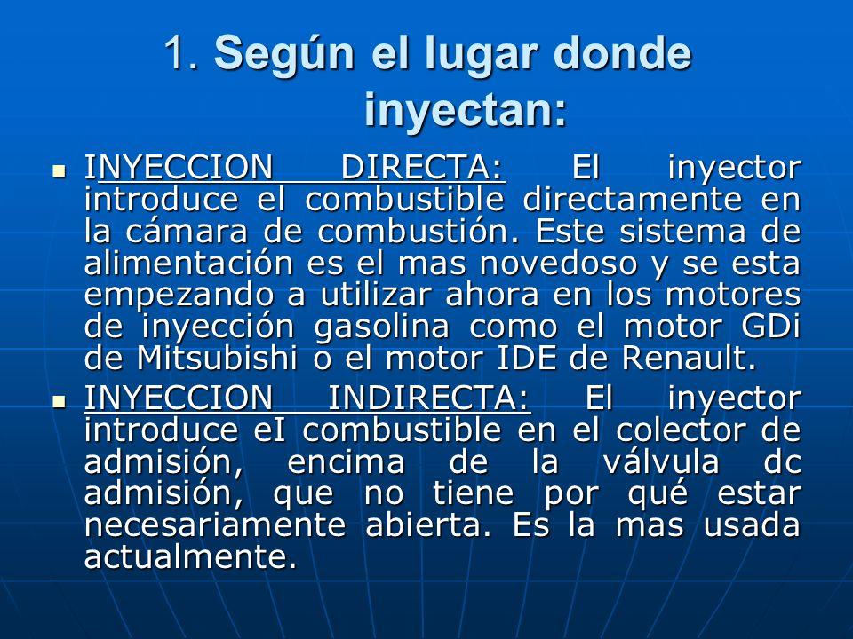 1. Según el lugar donde inyectan: INYECCION DIRECTA: El inyector introduce el combustible directamente en la cámara de combustión. Este sistema de ali