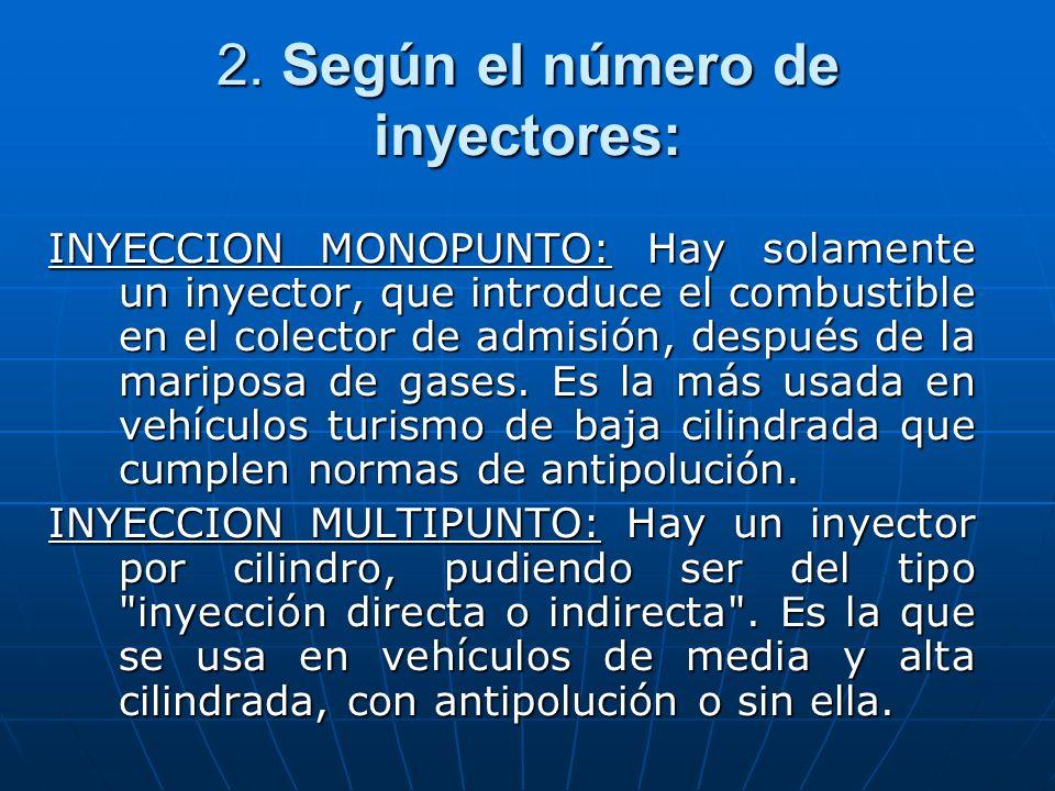 2. Según el número de inyectores: INYECCION MONOPUNTO: Hay solamente un inyector, que introduce el combustible en el colector de admisión, después de