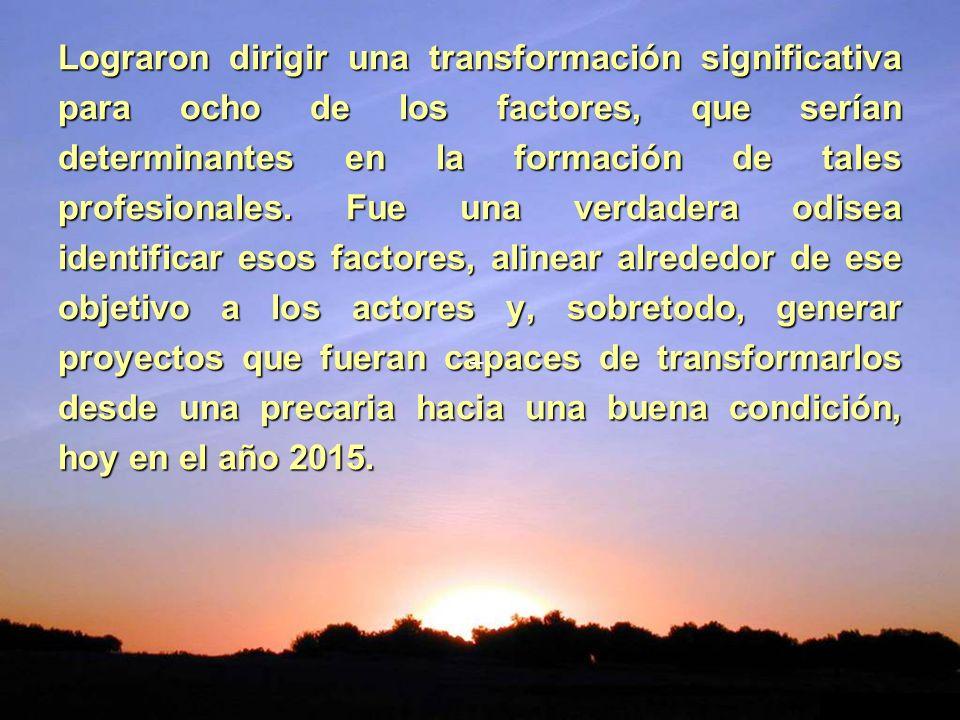 Lograron dirigir una transformación significativa para ocho de los factores, que serían determinantes en la formación de tales profesionales. Fue una