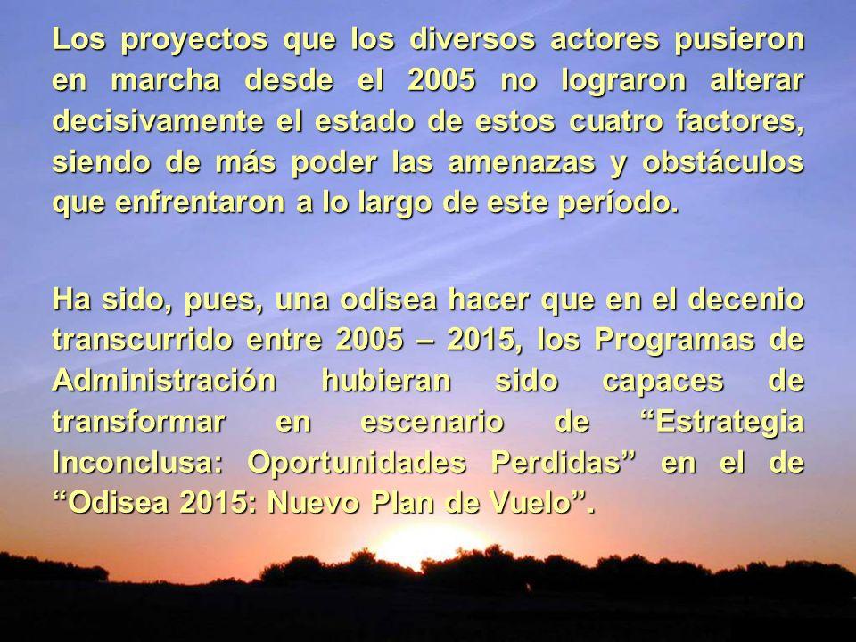 Los proyectos que los diversos actores pusieron en marcha desde el 2005 no lograron alterar decisivamente el estado de estos cuatro factores, siendo d