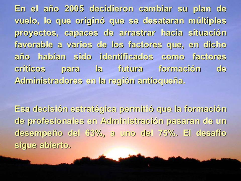 En el año 2005 decidieron cambiar su plan de vuelo, lo que originó que se desataran múltiples proyectos, capaces de arrastrar hacia situación favorabl
