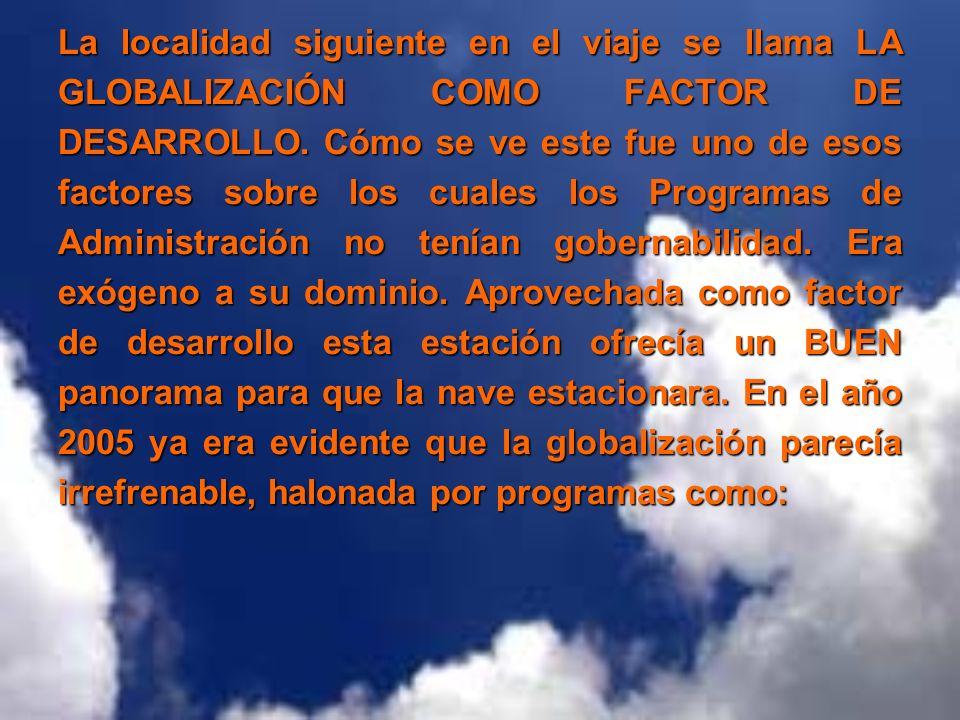 La localidad siguiente en el viaje se llama LA GLOBALIZACIÓN COMO FACTOR DE DESARROLLO. Cómo se ve este fue uno de esos factores sobre los cuales los