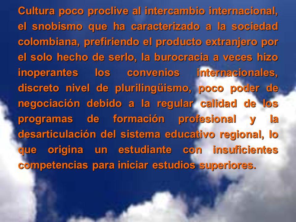 Cultura poco proclive al intercambio internacional, el snobismo que ha caracterizado a la sociedad colombiana, prefiriendo el producto extranjero por