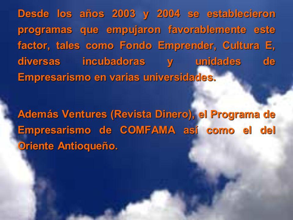 Desde los años 2003 y 2004 se establecieron programas que empujaron favorablemente este factor, tales como Fondo Emprender, Cultura E, diversas incuba