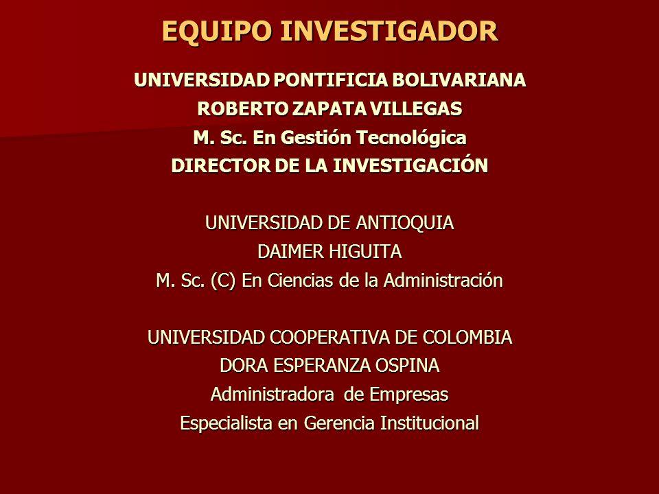 UNIVERSIDAD PONTIFICIA BOLIVARIANA ROBERTO ZAPATA VILLEGAS M. Sc. En Gestión Tecnológica DIRECTOR DE LA INVESTIGACIÓN UNIVERSIDAD DE ANTIOQUIA DAIMER