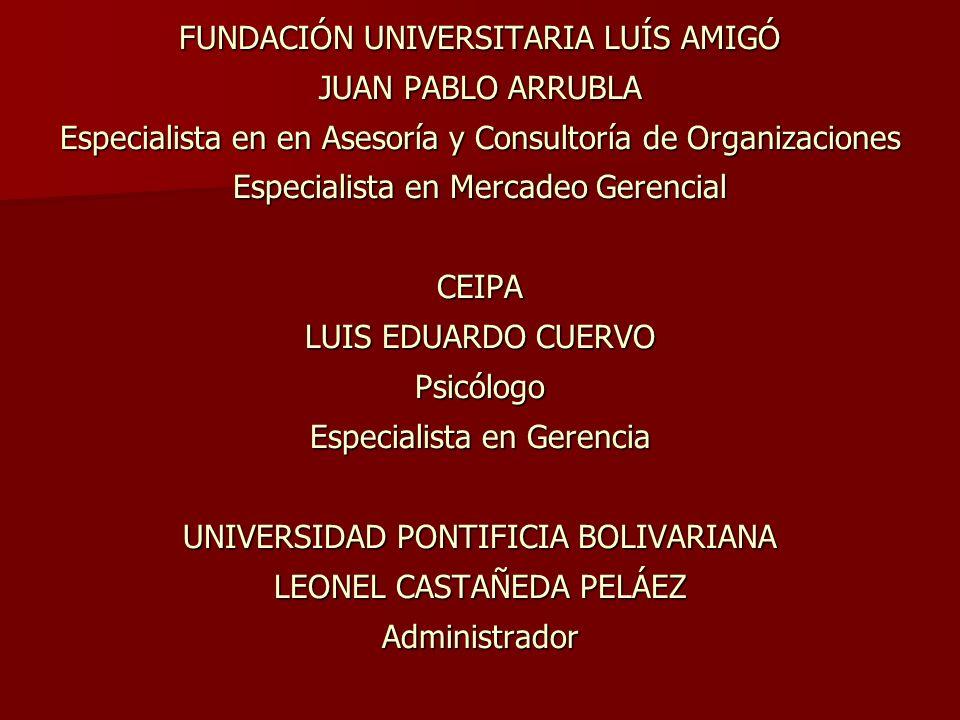 FUNDACIÓN UNIVERSITARIA LUÍS AMIGÓ JUAN PABLO ARRUBLA Especialista en en Asesoría y Consultoría de Organizaciones Especialista en Mercadeo Gerencial C