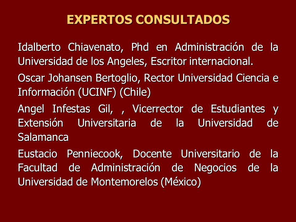 EXPERTOS CONSULTADOS Idalberto Chiavenato, Phd en Administración de la Universidad de los Angeles, Escritor internacional. Oscar Johansen Bertoglio, R