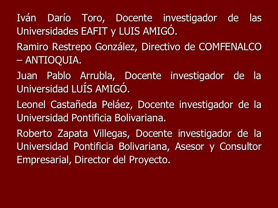 Iván Darío Toro, Docente investigador de las Universidades EAFIT y LUIS AMIGÓ. Ramiro Restrepo González, Directivo de COMFENALCO – ANTIOQUIA. Juan Pab
