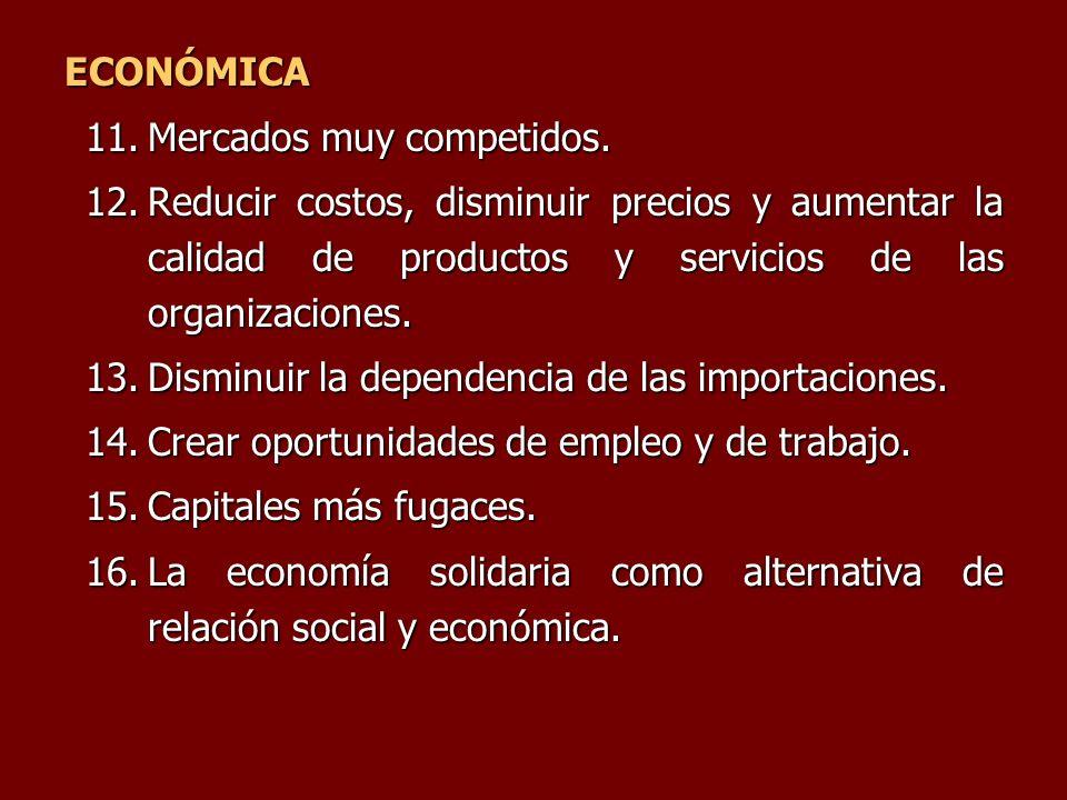 ECONÓMICA 11.Mercados muy competidos. 12.Reducir costos, disminuir precios y aumentar la calidad de productos y servicios de las organizaciones. 13.Di