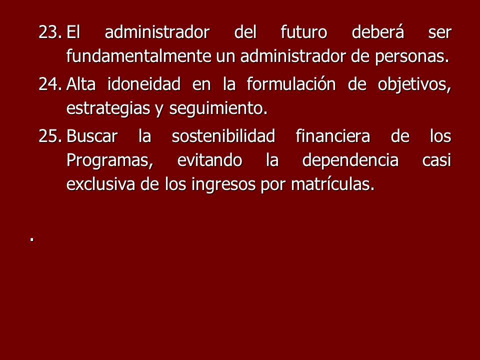 23.El administrador del futuro deberá ser fundamentalmente un administrador de personas. 24.Alta idoneidad en la formulación de objetivos, estrategias