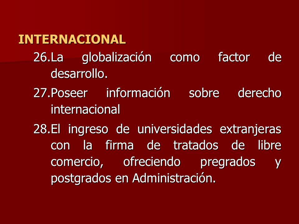 INTERNACIONAL 26.La globalización como factor de desarrollo. 27.Poseer información sobre derecho internacional 28.El ingreso de universidades extranje