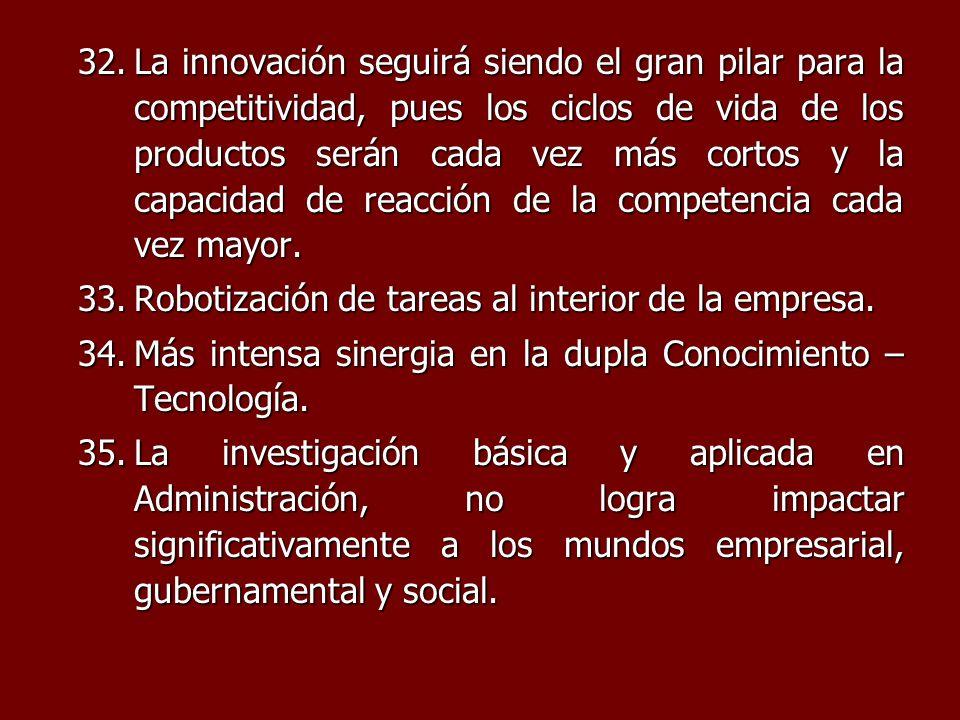32.La innovación seguirá siendo el gran pilar para la competitividad, pues los ciclos de vida de los productos serán cada vez más cortos y la capacida