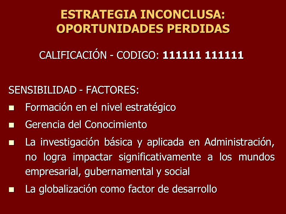 ESTRATEGIA INCONCLUSA: OPORTUNIDADES PERDIDAS CALIFICACIÓN - CODIGO: 111111 111111 SENSIBILIDAD - FACTORES: Formación en el nivel estratégico Formació