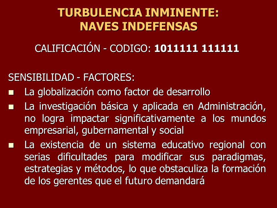 TURBULENCIA INMINENTE: NAVES INDEFENSAS CALIFICACIÓN - CODIGO: 1011111 111111 SENSIBILIDAD - FACTORES: La globalización como factor de desarrollo La g