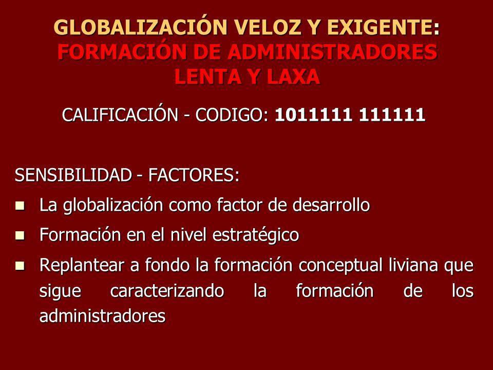 GLOBALIZACIÓN VELOZ Y EXIGENTE: FORMACIÓN DE ADMINISTRADORES LENTA Y LAXA CALIFICACIÓN - CODIGO: 1011111 111111 SENSIBILIDAD - FACTORES: La globalizac