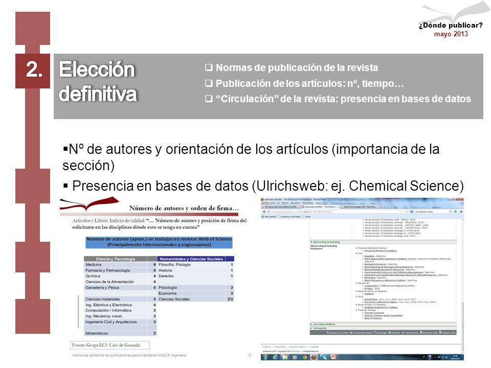 Nº de autores y orientación de los artículos (importancia de la sección) Presencia en bases de datos (Ulrichsweb: ej.