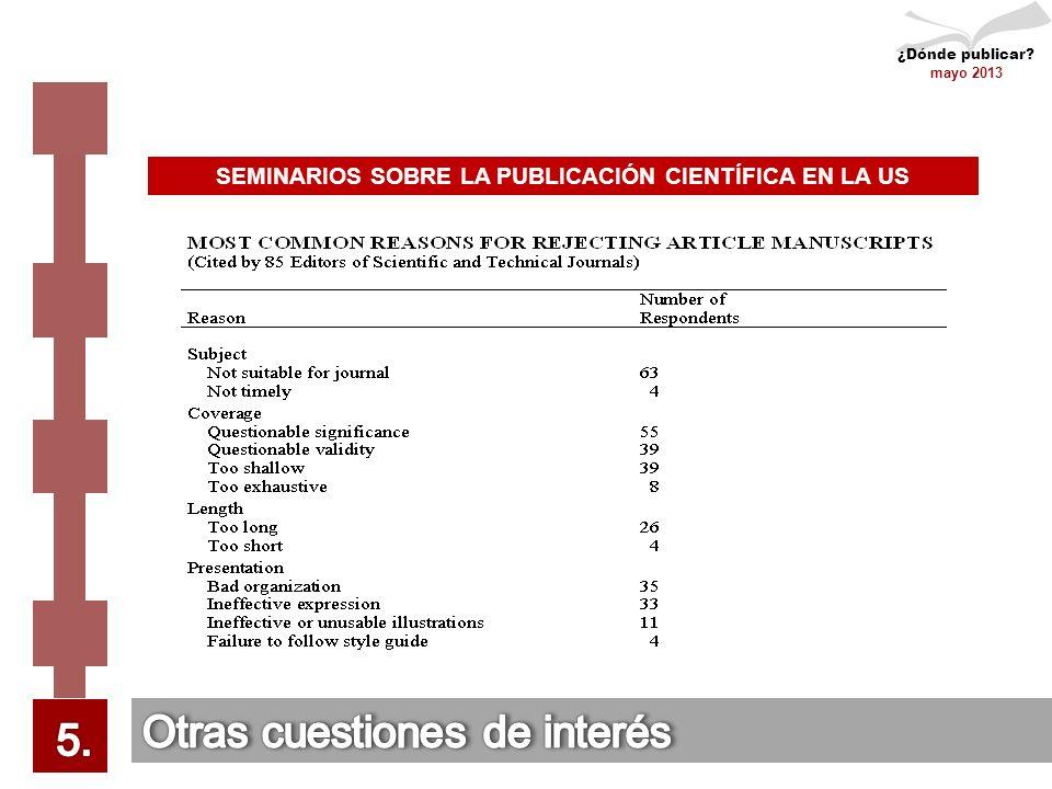 ¿Dónde publicar mayo 2013 SEMINARIOS SOBRE LA PUBLICACIÓN CIENTÍFICA EN LA US