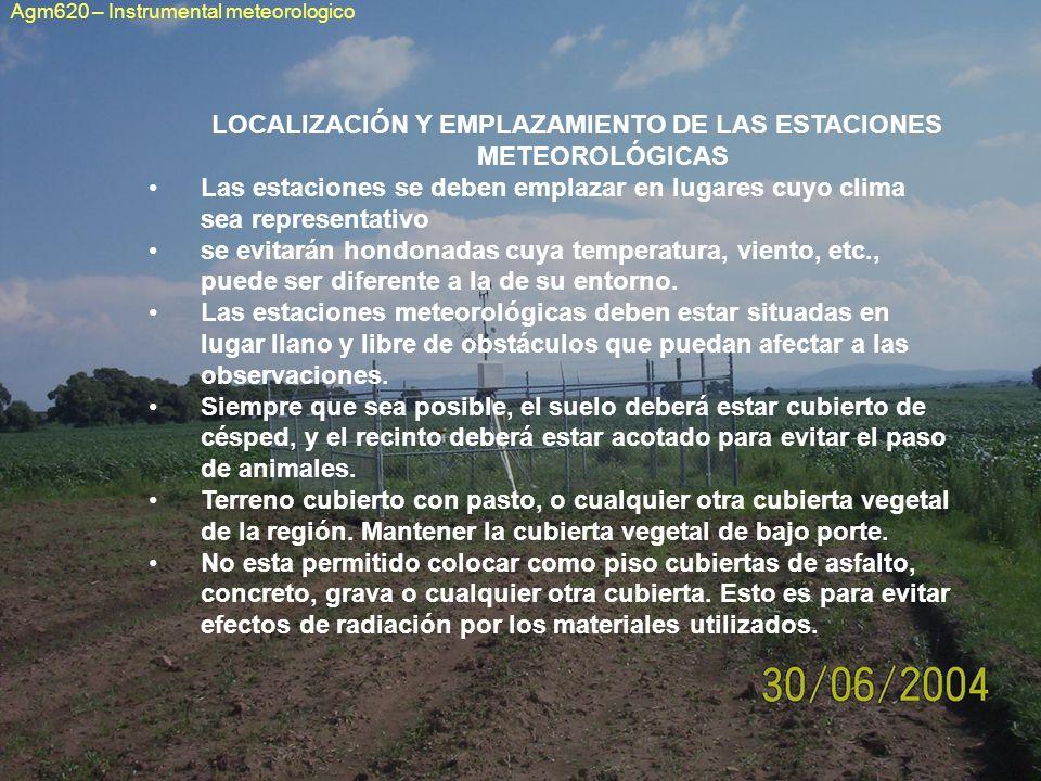 LOCALIZACIÓN Y EMPLAZAMIENTO DE LAS ESTACIONES METEOROLÓGICAS Las estaciones se deben emplazar en lugares cuyo clima sea representativo se evitarán ho