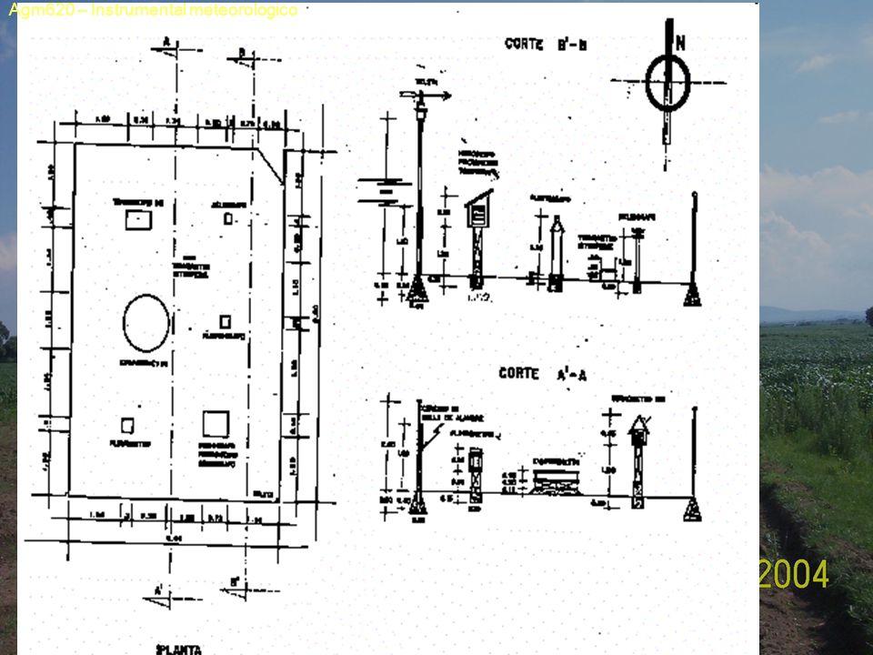 Parámetro medido Instrumento utilizado TipoElemento sensible Elemento transmisor amplificador Elemento registrador Unidades de medida Precisió n Especificación de instalación TemperaturaTermómetro Máxima Mínima Normal Termógrafo LD G Mercurio Alcohol Mercurio Bimetal Tubo capilar Juego de palancas Escala Gráfica °C 0.1 0.5 En la caseta meteorológica, a 1.20 m de altura El de mínima, inclinado 2° 5 y 10 cm S/S; 5,10,20,50 y 100 cm de prof.