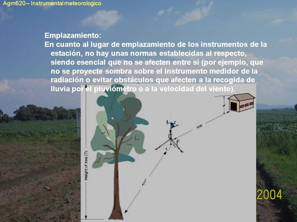 Emplazamiento: En cuanto al lugar de emplazamiento de los instrumentos de la estación, no hay unas normas establecidas al respecto, siendo esencial qu