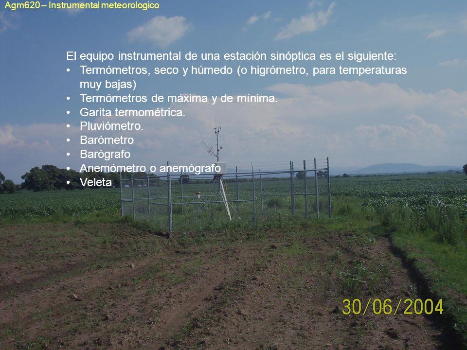 El equipo instrumental de una estación sinóptica es el siguiente: Termómetros, seco y húmedo (o higrómetro, para temperaturas muy bajas) Termómetros d