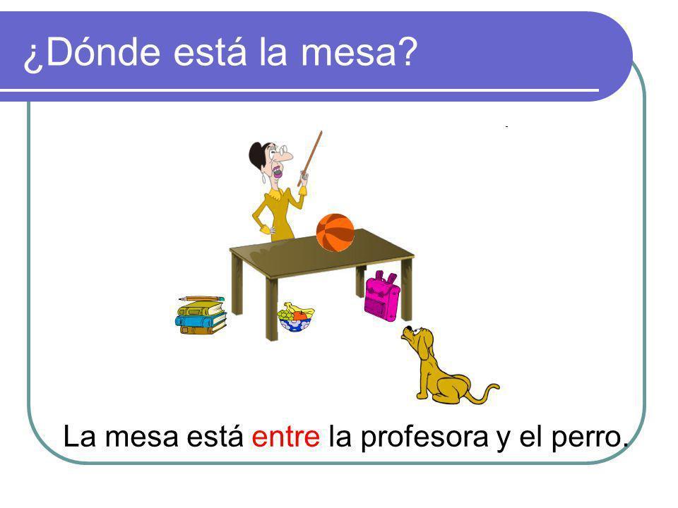 ¿Dónde está la mesa? La mesa está entre la profesora y el perro.
