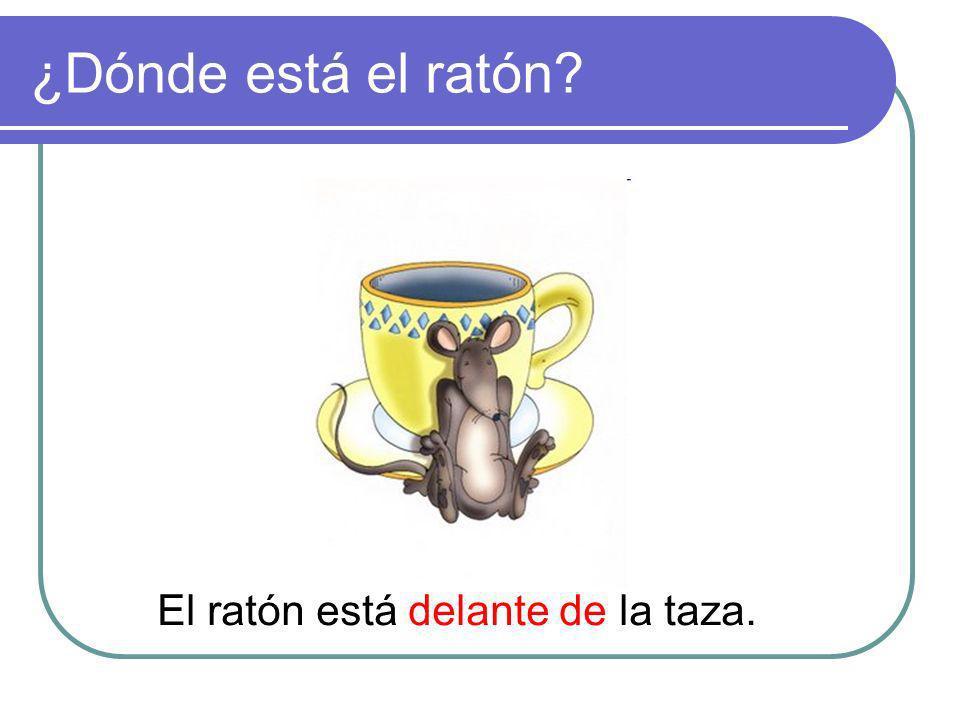 ¿Dónde está el ratón? El ratón está delante de la taza.
