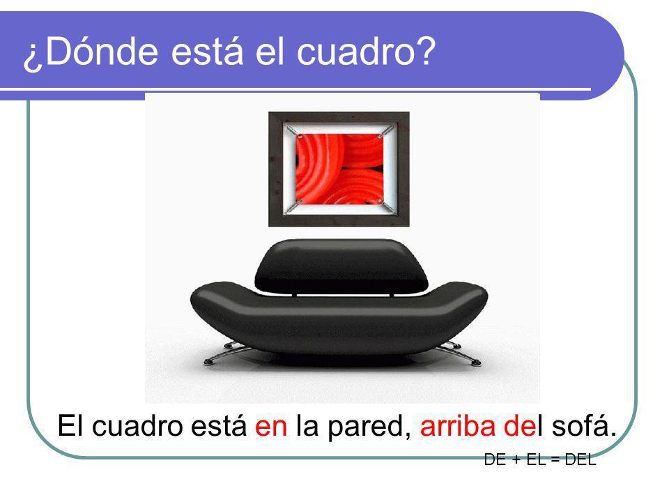 ¿Dónde está el cuadro? El cuadro está en la pared, arriba del sofá. DE + EL = DEL