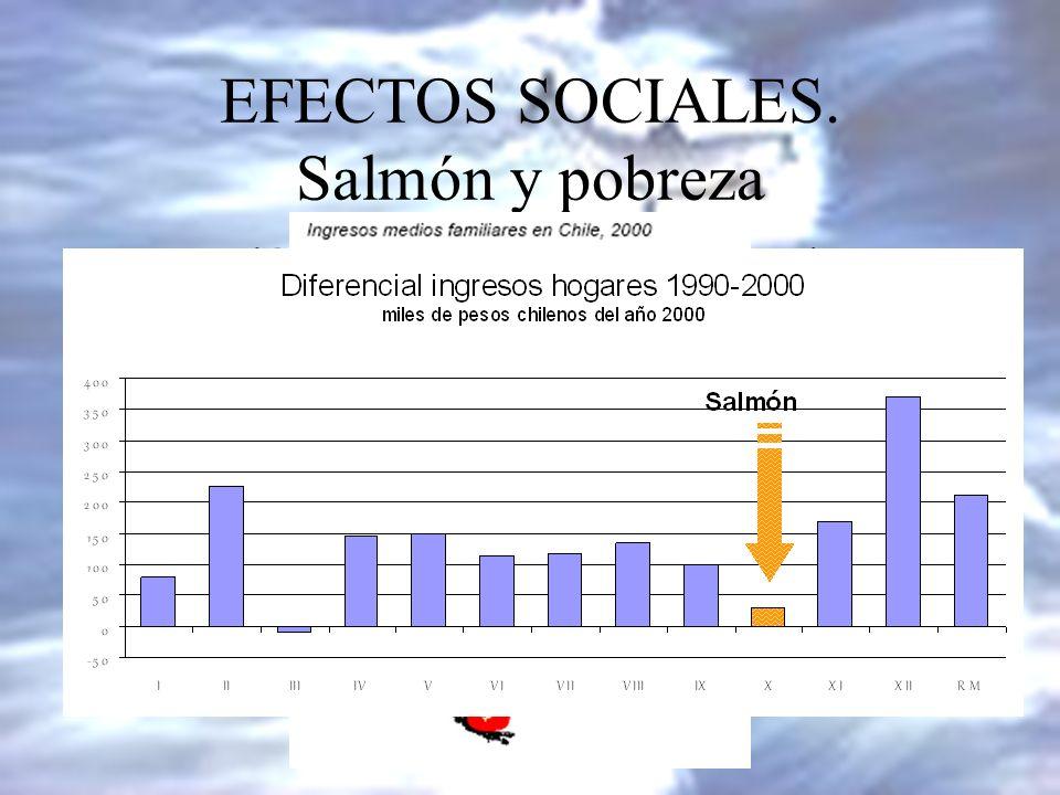 EFECTOS SOCIALES. Salmón y pobreza La región salmonera (X Región) es la que tiene un menor ingreso familiar de todo Chile. Su situación relativa ha em