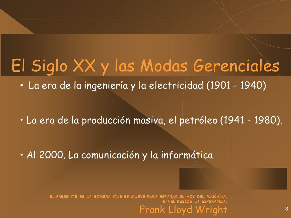 8 El Siglo XX y las Modas Gerenciales La era de la ingeniería y la electricidad (1901 - 1940) La era de la producción masiva, el petróleo (1941 - 1980).