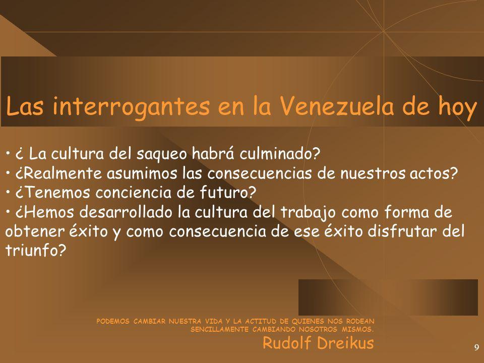 9 Las interrogantes en la Venezuela de hoy ¿ La cultura del saqueo habrá culminado.