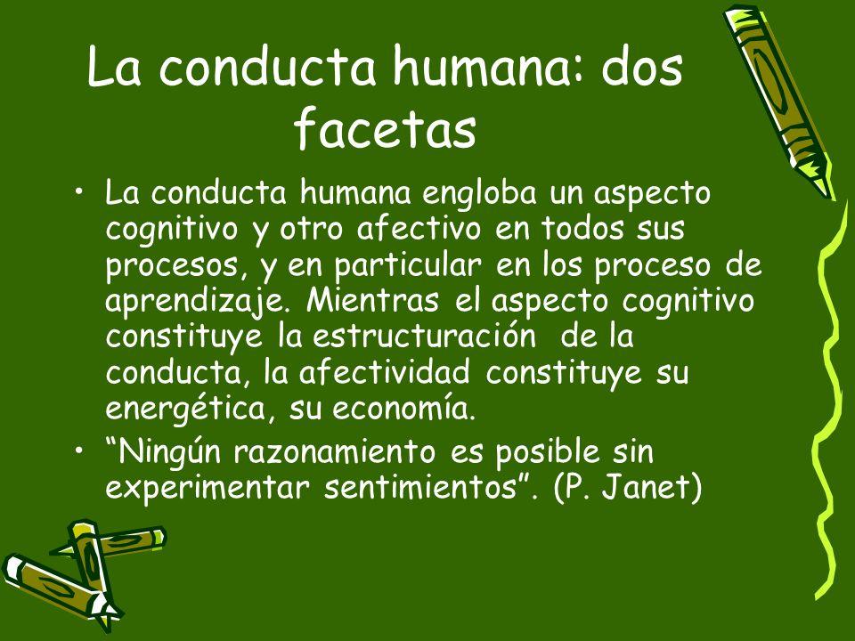 La conducta humana: dos facetas La conducta humana engloba un aspecto cognitivo y otro afectivo en todos sus procesos, y en particular en los proceso