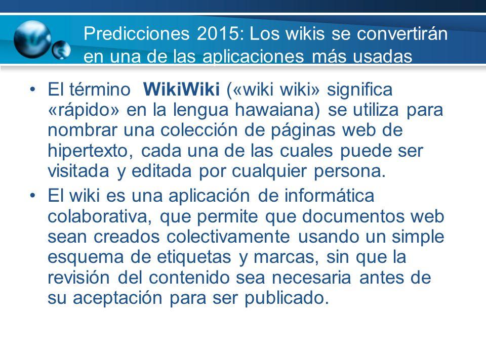 Predicciones 2015: Los wikis se convertirán en una de las aplicaciones más usadas El término WikiWiki («wiki wiki» significa «rápido» en la lengua haw