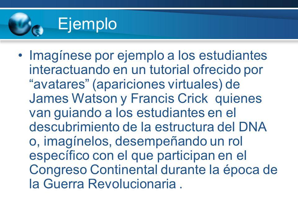 Ejemplo Imagínese por ejemplo a los estudiantes interactuando en un tutorial ofrecido por avatares (apariciones virtuales) de James Watson y Francis C
