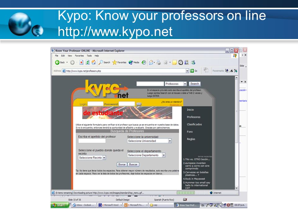 Kypo: Know your professors on line http://www.kypo.net