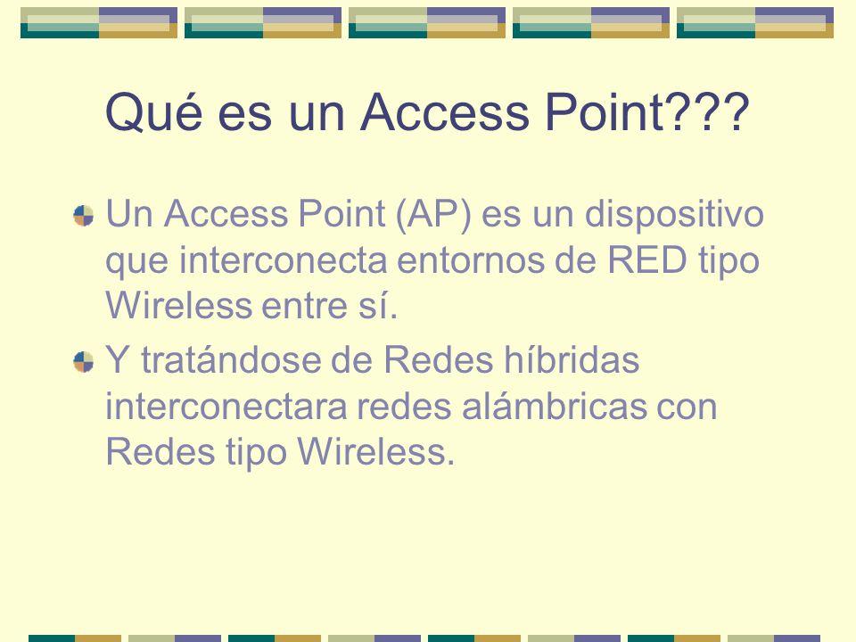 Qué es un Access Point??? Un Access Point (AP) es un dispositivo que interconecta entornos de RED tipo Wireless entre sí. Y tratándose de Redes híbrid