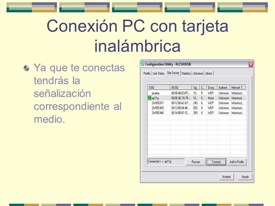 Conexión PC con tarjeta inalámbrica Ya que te conectas tendrás la señalización correspondiente al medio.