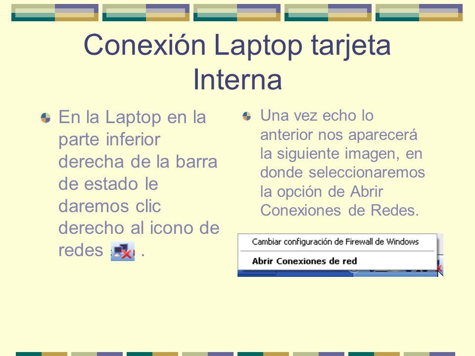 Conexión Laptop tarjeta Interna En la Laptop en la parte inferior derecha de la barra de estado le daremos clic derecho al icono de redes. Una vez ech
